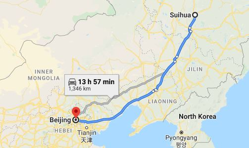 Route map from Suihua to the Vietnamese Embassy in Beijing