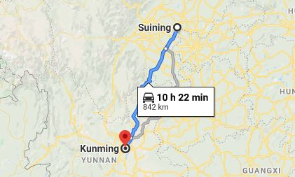 Route map from Suining to the Vietnamese Consulate in Kunming