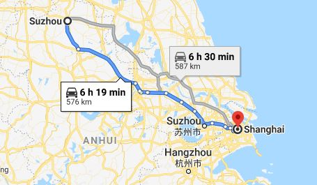 Route map from Suzhou to the Embassy of Vietnam in Shanghai