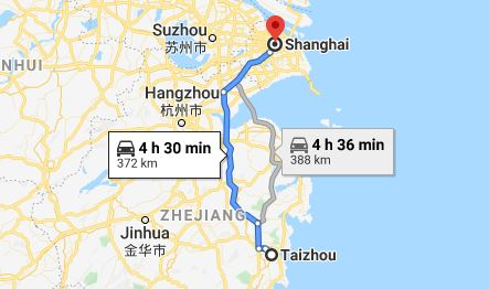 Route map from Taizhou to the Vietnamese Consulate in Shanghai