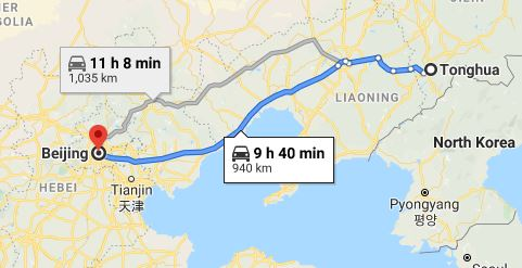 Route map from Tonghua to the Vietnamese Embassy in Beijing