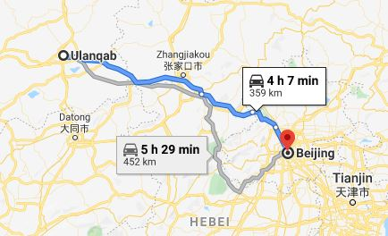 Route map from Ulanqab to the Vietnamese Embassy in Beijing
