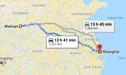 Route map from Weinan to the Vietnamese Consulate in Shanghai