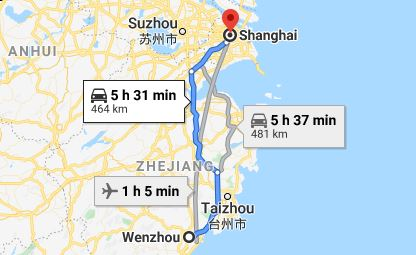 Route map from Wenzhou to the Vietnamese Consulate in Shanghai