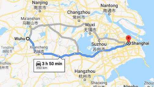 Route map from Wuhu to the Vietnamese Consulate in Shanghai