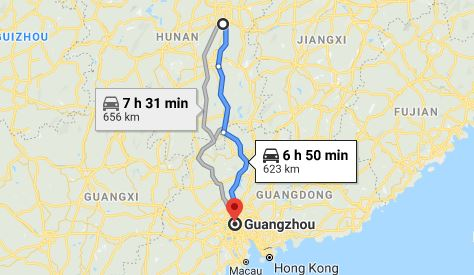 Route map from Xiangtan to the Consulate of Vietnam in Guangzhou
