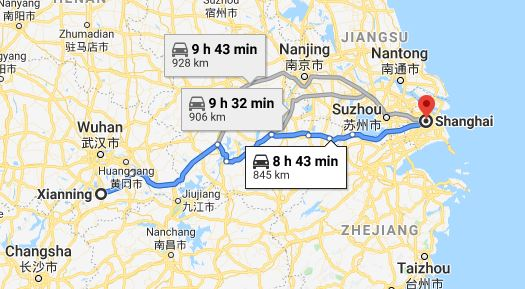 Route map from Xianning to the Vietnamese Consulate in Shanghai