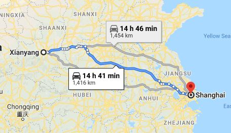 Route map from Xianyang to the Vietnamese Consulate in Shanghai
