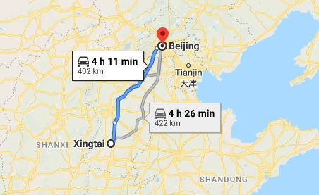 Route map from Xingtai to the Vietnamese Embassy in Beijing