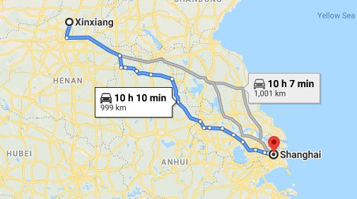Route map from Xinxiang to the Vietnamese Consulate in Shanghai