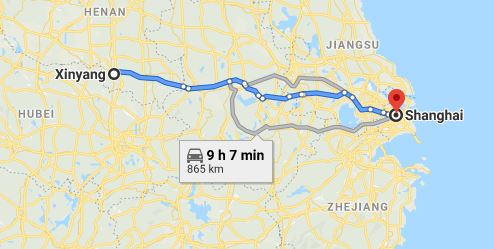 Route map from Xinyang to the Vietnamese Consulate in Shanghai