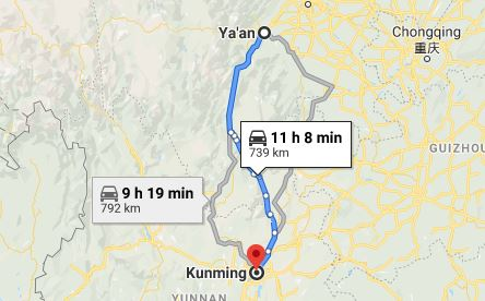 Route map from Ya'an to the Vietnamese Consulate in Kunming