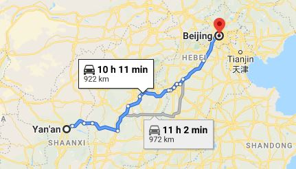 Route map from Yan'an to the Vietnamese Embassy in Beijing
