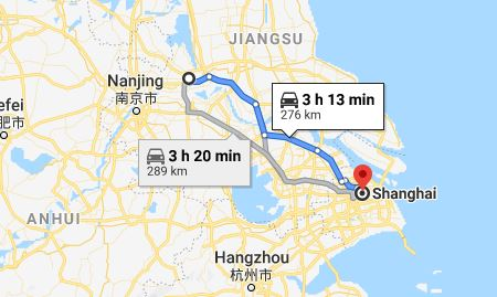 Route map from Yangzhou to the Vietnamese Consulate in Shanghai