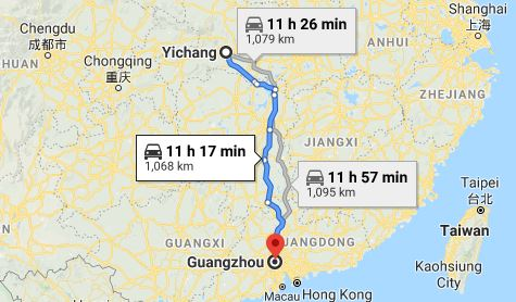 Route map from Yichang to the Vietnamese Consulate in Guangzhou