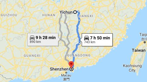 Route map from Yichun to the Consulate of Vietnam in Guangzhou