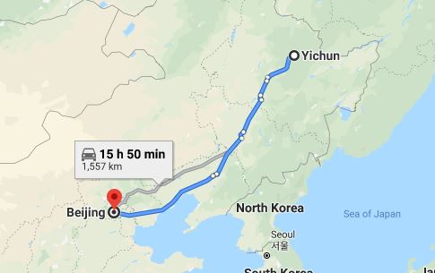 Route map from Yichun to the Vietnamese Embassy in Beijing