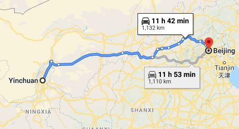 Route map from Yinchuan to the Vietnamese Embassy in Beijing
