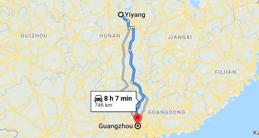 Route map from Yiyang to the Consulate of Vietnam in Guangzhou
