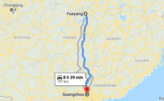 Route map from Yueyang to the Consulate of Vietnam in Guangzhou