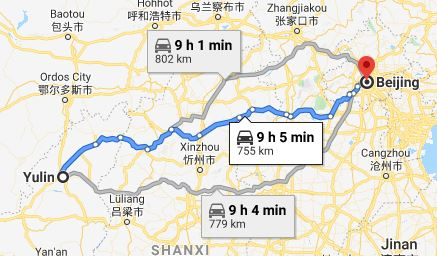 Route map from Yulin to the Vietnamese Embassy in Beijing