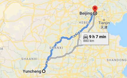 Route map from Yuncheng to the Vietnamese Embassy in Beijing