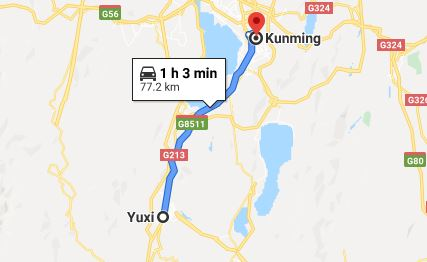 Route map from Yuxi to the Vietnamese Consulate in Kunming