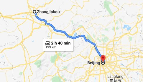 Route map from Zhangjiakou to the Vietnamese Embassy in Beijing