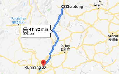 Route map from Zhaotong to the Vietnamese Consulate in Kunming