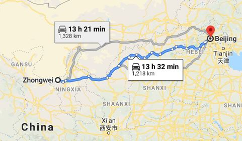Route map from Zhongwei to the Vietnamese Embassy in Beijing
