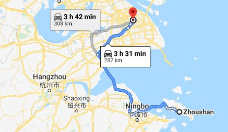 Route map from Zhoushan to the Vietnamese Consulate in Shanghai