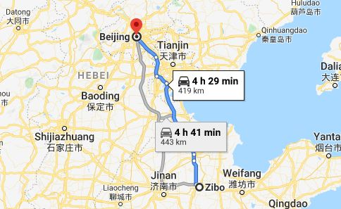 Route map from Zibo to the Vietnamese Embassy in Beijing