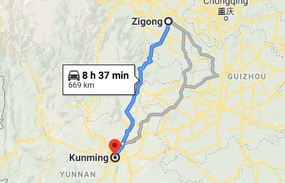 Route map from Zigong to the Vietnamese Consulate in Kunming