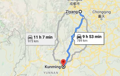 Route map from Ziyang to the Vietnamese Consulate in Kunming