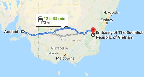 Route map from Adelaide to the Embassy of Vietnam in Canberra