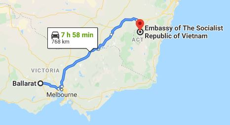 Route map from Ballarat to the Embassy of Vietnam in Canberra