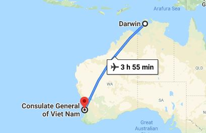 Route map from Darwin to the Consulate of Vietnam in Perth