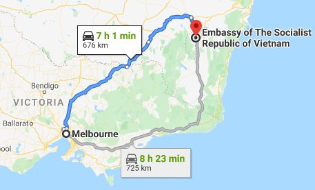 Route map from Melbourne to the Embassy of Vietnam in Canberra