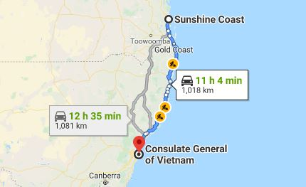 Route map from Sunshine Coast to the Consulate of Vietnam in Sydney