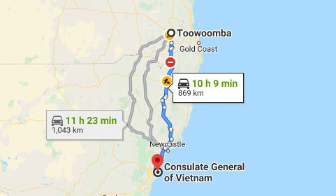 Route map from Toowoomba to the Consulate of Vietnam in Sydney