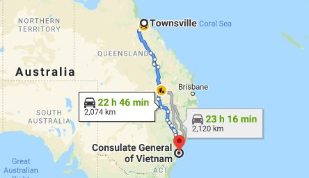 Route map from Townsville to the Consulate of Vietnam in Sydney