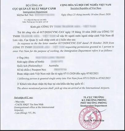 Mẫu giấy phép nhập cảnh Việt Nam